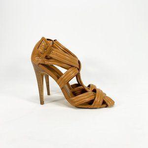 TORY BURCH 'Liv' Leather Strappy Cross Sandal Heel